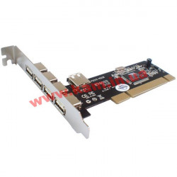 Контроллер ST-LAB, PCI, U-166, 4 EXT (USB2.0) + 1 INT (USB2.0) (U-166)