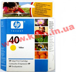 Картридж HP No.40 DJ1200 yellow, 42ml 1600 стр@5% (А4), 42 мл for DJ 1200C/ PS, DJ 1600C/  (51640YE)