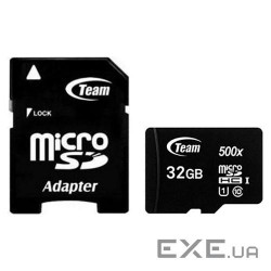 Карта памяти MicroSDHC 32GB UHS-I Class 10 Team Black + SD-adapter (TUSDH32GCL10U03)