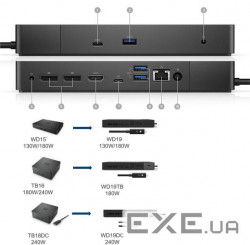 Порт-реплiкатор Dell Dock WD19, 130W (450-AIBZ)