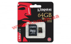 Карта памяти Kingston MicroSD 64GB Class 10 UHS-I + SD-adapter (SDCA10/64GB)