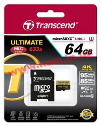 Карта памяти Transcend Ultimate microSDXC 64GB Class 10 UHS-I U3 R95/ W85MB/ s 4K Video (TS64GUSDU3)