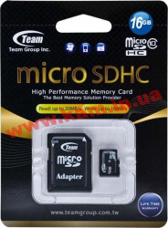 Карта памяти Team 16 GB microSDHC Class 10 + SD Adapter (TUSDH16GCL1003)
