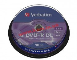 диск VERBATIM DVD+R 8,5Gb DL 8x Cake 10 pcs 43666 (43666)