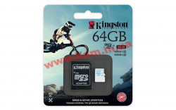 Карта памяти Kingston 64GB microSDXC C10 UHS-I U3 R90/ W45MB/ s + SD адаптер Action (SDCAC/64GB)