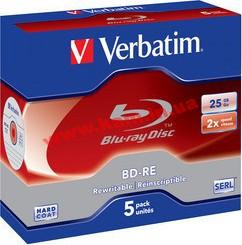 диск VERBATIM BD-RE SL 25Gb 2x Jewel 5 pcs 43615