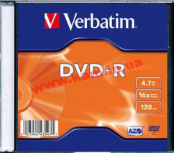 диск VERBATIM DVD-R 4,7Gb 16x Slim 1 pcs 43547 (43547)
