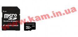 карта памяти SILICON POWER microSDHC 8 GB card Class 4 + adapter (SP008GBSTH004V10-SP)