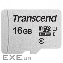 Карта памяти TRANSCEND microSDHC 300S 16GB UHS-I Class 10 + SD-adapter (TS16GUSD300S-A)