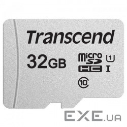 Карта памяти TRANSCEND microSDHC 300S 32GB UHS-I Class 10 + SD-adapter (TS32GUSD300S-A)