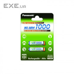 Аккумулятор PANASONIC High Capacity AAA 1000 mAh NI-MH * 2 (BK-4HGAE/2BE)