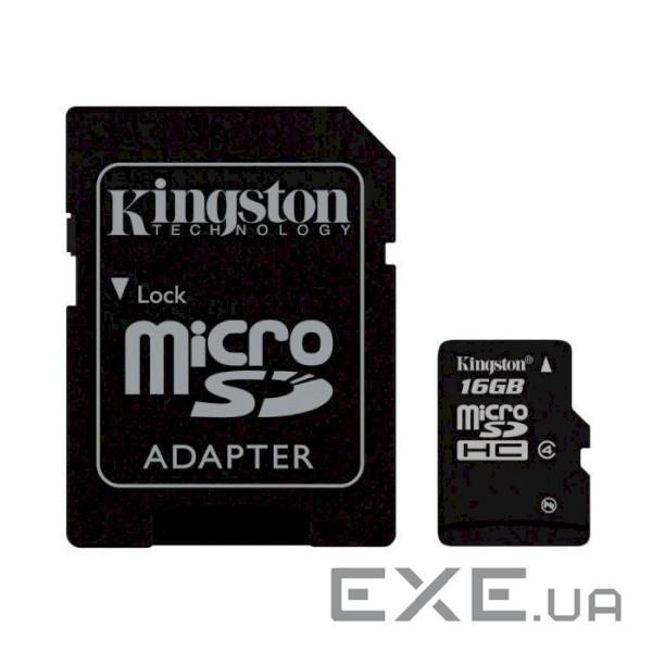 Карта памяти KINGSTON microSDHC 16GB Class 4 + SD-adapter (SDC4/16GB)