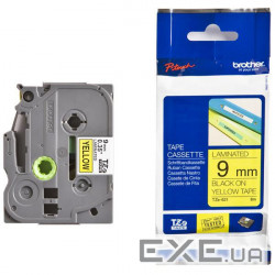 Лента Brother 9mm Laminated yellow, Print black (TZE621)