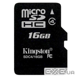 Карта памяти Kingston MicroSDHC 16 GB (SDC4/16GBSP)