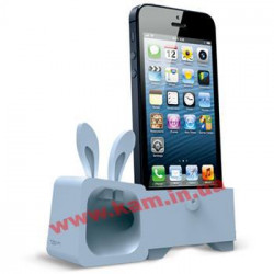 Подставка-усилитель iPhone SE/ 5S/ 5 OZAKI O!music Zoo Rabbit A Grey (OM936RA)