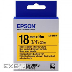 Картридж Epson LK-5YBW Strong Adhesive Black/ Yellow 18mm/ 9m (C53S655010)