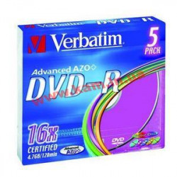 диск VERBATIM DVD-R 4,7Gb 16x Slim 5 pcs Color 43 (43557)